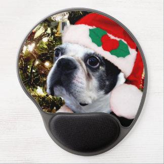 Perro de Boston Terrier del navidad Alfombrilla De Ratón Con Gel