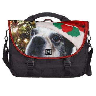 Perro de Boston Terrier del navidad Bolsas Para Ordenador