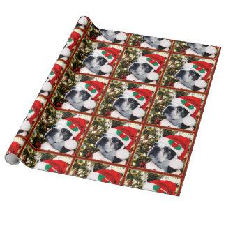 Perro de Boston Terrier del navidad Papel De Regalo