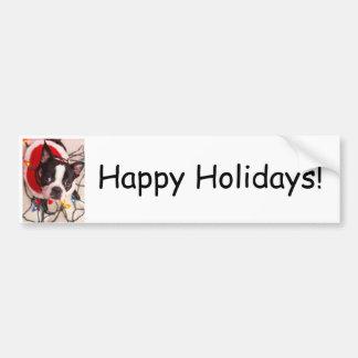Perro de Boston Terrier en pegatina para el parach Etiqueta De Parachoque