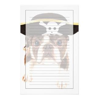 Perro de Boston Terrier vestido como pirata Papeleria De Diseño