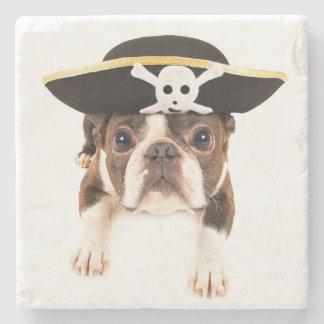 Perro de Boston Terrier vestido como pirata Posavasos De Piedra