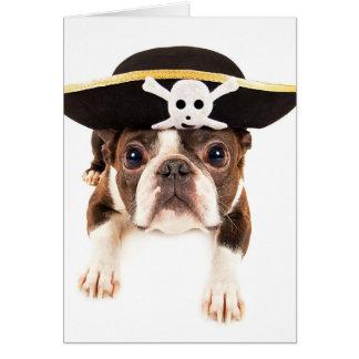 Perro de Boston Terrier vestido como pirata Tarjeta De Felicitación