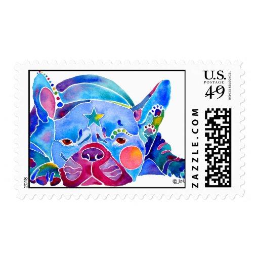 Perro de Bull del francés en azules Sello