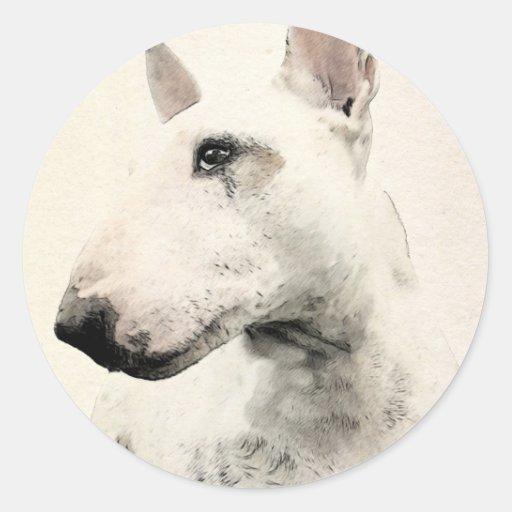 Perro de bull terrier del inglés etiqueta