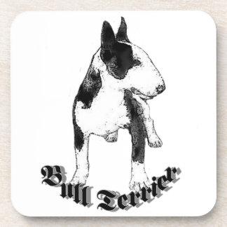Perro de bull terrier posavasos de bebidas