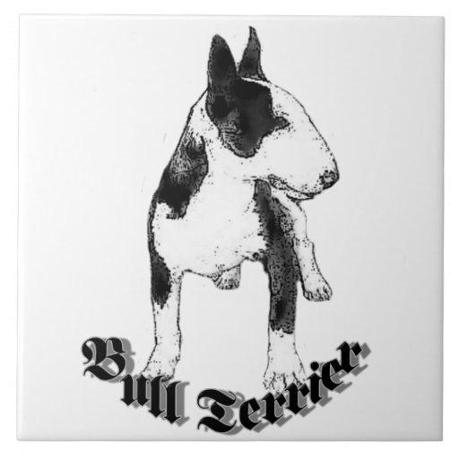 Perro de bull terrier teja  ceramica