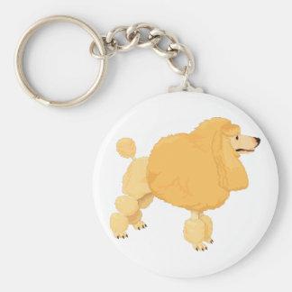 Perro de caniche amarillo llaveros