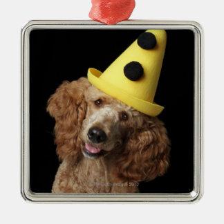 Perro de caniche de oro que lleva un gorra adorno navideño cuadrado de metal