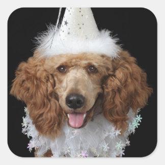 Perro de caniche de oro que lleva un traje blanco pegatina cuadrada