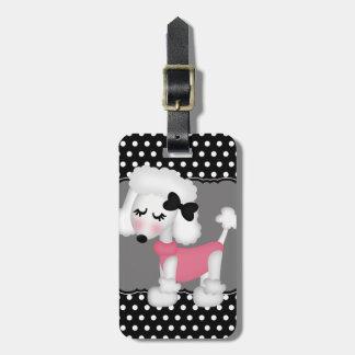 Perro de caniche femenino retro de París Etiqueta Para Maleta