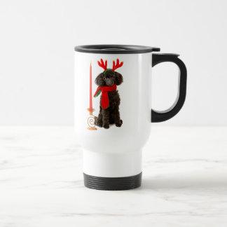 Perro de caniche negro de juguete del navidad vest taza de viaje de acero inoxidable