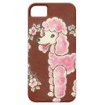 Perro de caniche rosado femenino lindo iPhone 5 Case-Mate cárcasas