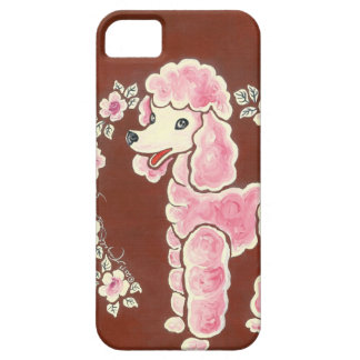 Perro de caniche rosado femenino lindo iPhone 5 fundas