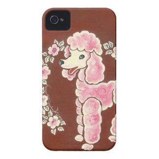 Perro de caniche rosado femenino lindo iPhone 4 funda