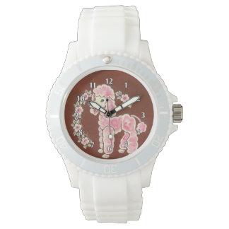 Perro de caniche rosado femenino lindo relojes de mano