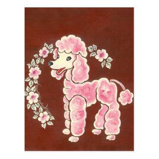 Perro de caniche rosado femenino lindo tarjeta postal