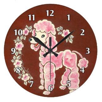 Perro de caniche rosado mullido femenino lindo relojes de pared