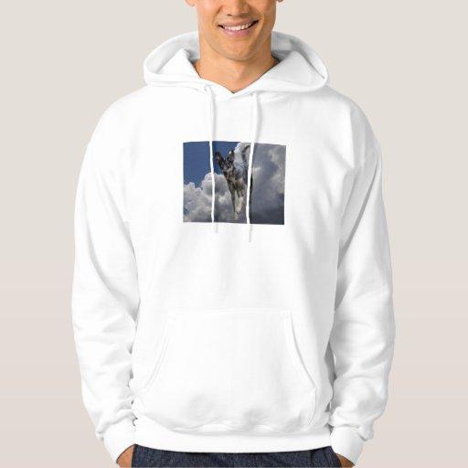 Perro de Catahoula que corre en nubes blancas Sudadera