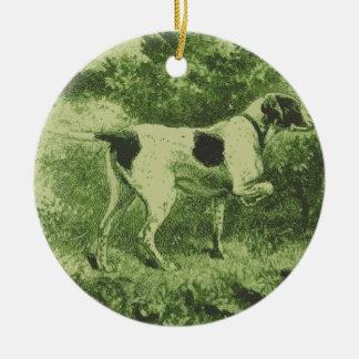 Perro de caza adorno navideño redondo de cerámica