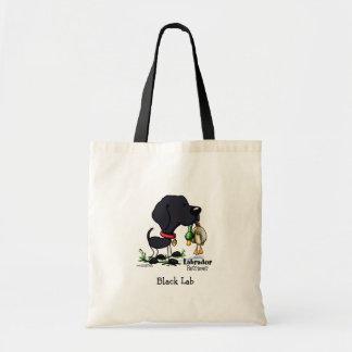 Perro de caza - bolso negro del labrador retriever bolsa lienzo