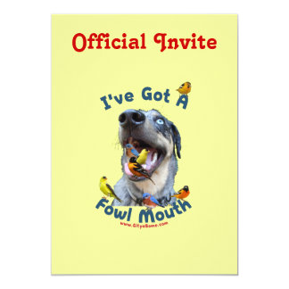 Perro de caza de la boca de las aves invitación 12,7 x 17,8 cm