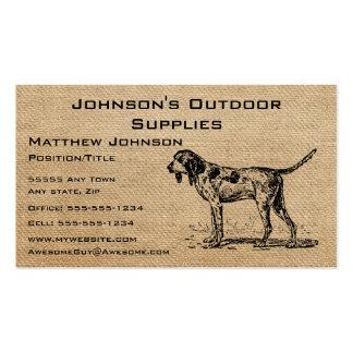 Perro de caza del vintage de la arpillera tarjetas de visita