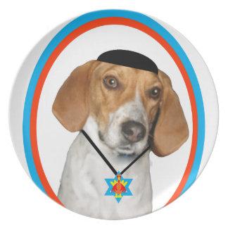 Perro de caza divertido de Thanksgivukkah con Yama Plato Para Fiesta