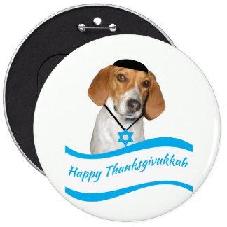 Perro de caza divertido del botón de Thanksgivukka
