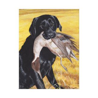 Perro de caza negro de Labrador Impresión En Lienzo