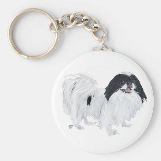 Perro de Chin del japonés Llavero Redondo Tipo Pin
