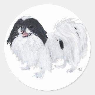 Perro de Chin del japonés Pegatina Redonda
