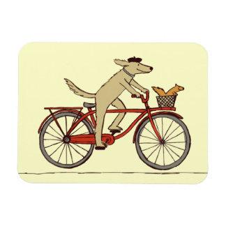 Perro de ciclo con el amigo de la ardilla - arte iman de vinilo
