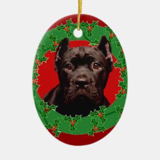 Perro de Corso del bastón del navidad Adorno Navideño Ovalado De Cerámica