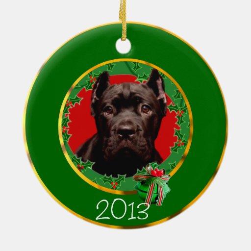 Perro de Corso del bastón del navidad Adorno Redondo De Cerámica
