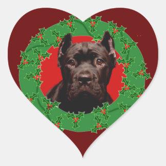 Perro de Corso del bastón del navidad Pegatina En Forma De Corazón