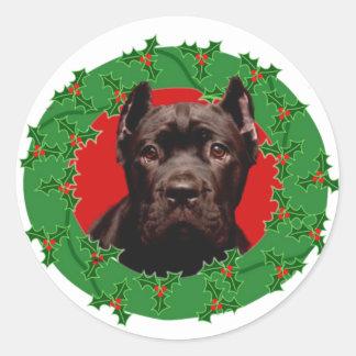 Perro de Corso del bastón del navidad Pegatina Redonda