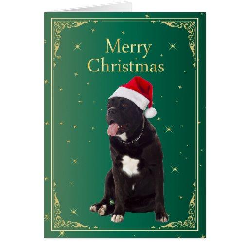 Perro de Corso del bastón en tarjeta de Navidad de