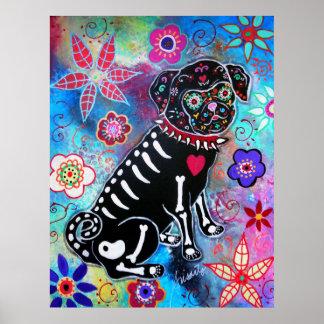 Perro de Dia de los Muertos Pug Póster