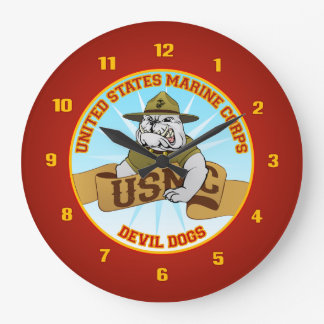 Perro de diablo de los infantes de marina de los E Reloj Redondo Grande