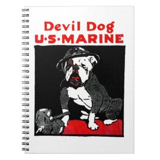 Perro de diablo del Cuerpo del Marines de WWI Libros De Apuntes