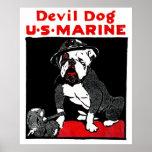 Perro de diablo del Cuerpo del Marines de WWI Impresiones