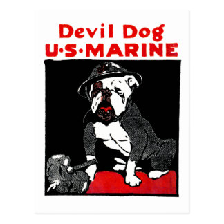 Perro de diablo del Cuerpo del Marines de WWI Postal