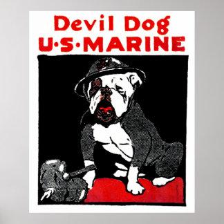 Perro de diablo del Cuerpo del Marines de WWI Póster