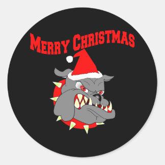Perro de diablo del USMC de las Felices Navidad Pegatinas Redondas