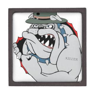 Perro de diablo dentro caja de joyas de calidad