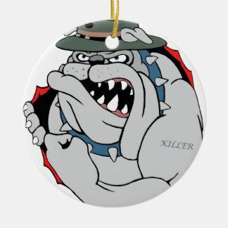 Perro de diablo dentro ornamento para arbol de navidad
