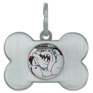 Perro de diablo dentro placas de mascota