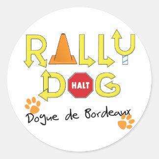 Perro de Dogue de Bordeaux Rally Pegatina Redonda