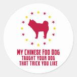 Perro de Foo del chino Pegatina Redonda